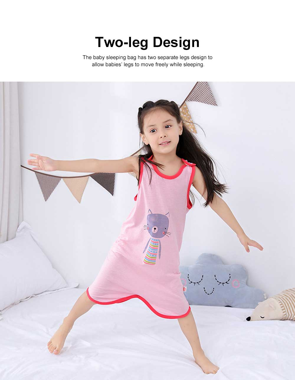 Pure Cotton One-piece Vest-type Baby Nightdress Sleeping Bag Babies Wear Thin Sleeveless Cartoon Sleeping Sack 1