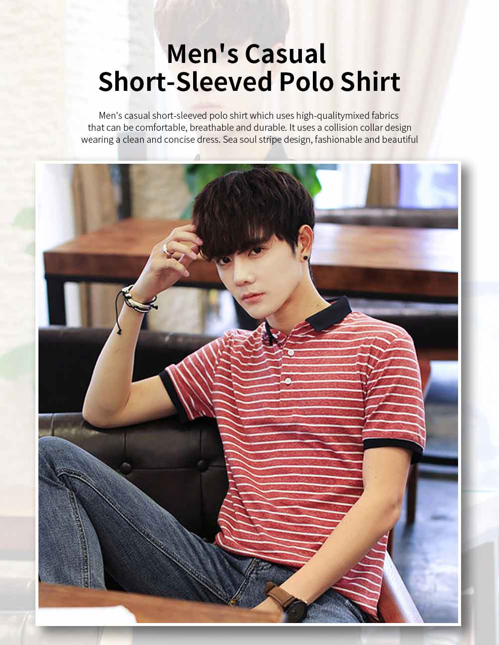 Men's Casual Short-Sleeved Polo Shirt Korean-Style Fashionable Striped Shirt For Summer 0