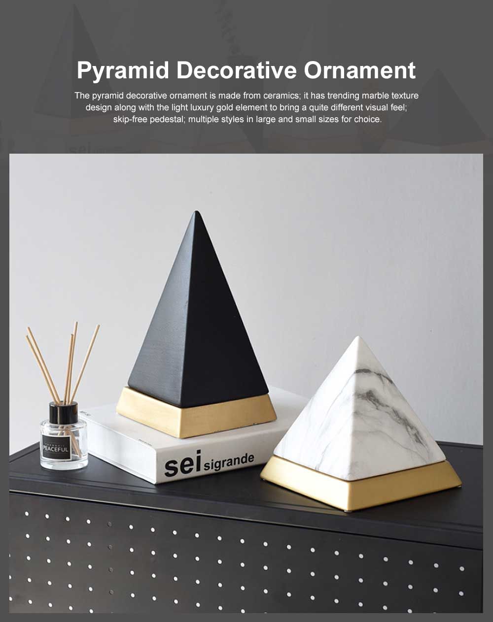 Original Design Ceramic Pyramid Decorative Ornaments for Household Use Nordic Style