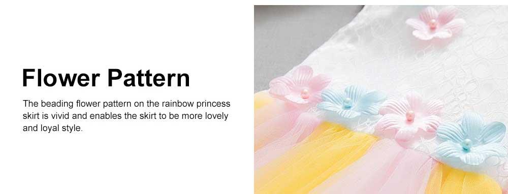 Rainbow Color Princess Skirt for Girl Kids, Summer Wear Korean Style Sleeveless One-piece Dress Princess Skirt for 1-3 Years 4