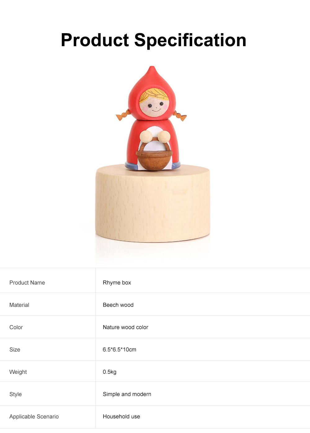 Wood Rhyme Box Mini Lovely Cartoon Design Manual Rotating Music Box Small Size Decorative Handiwork Gift for Children Family Lovers 5