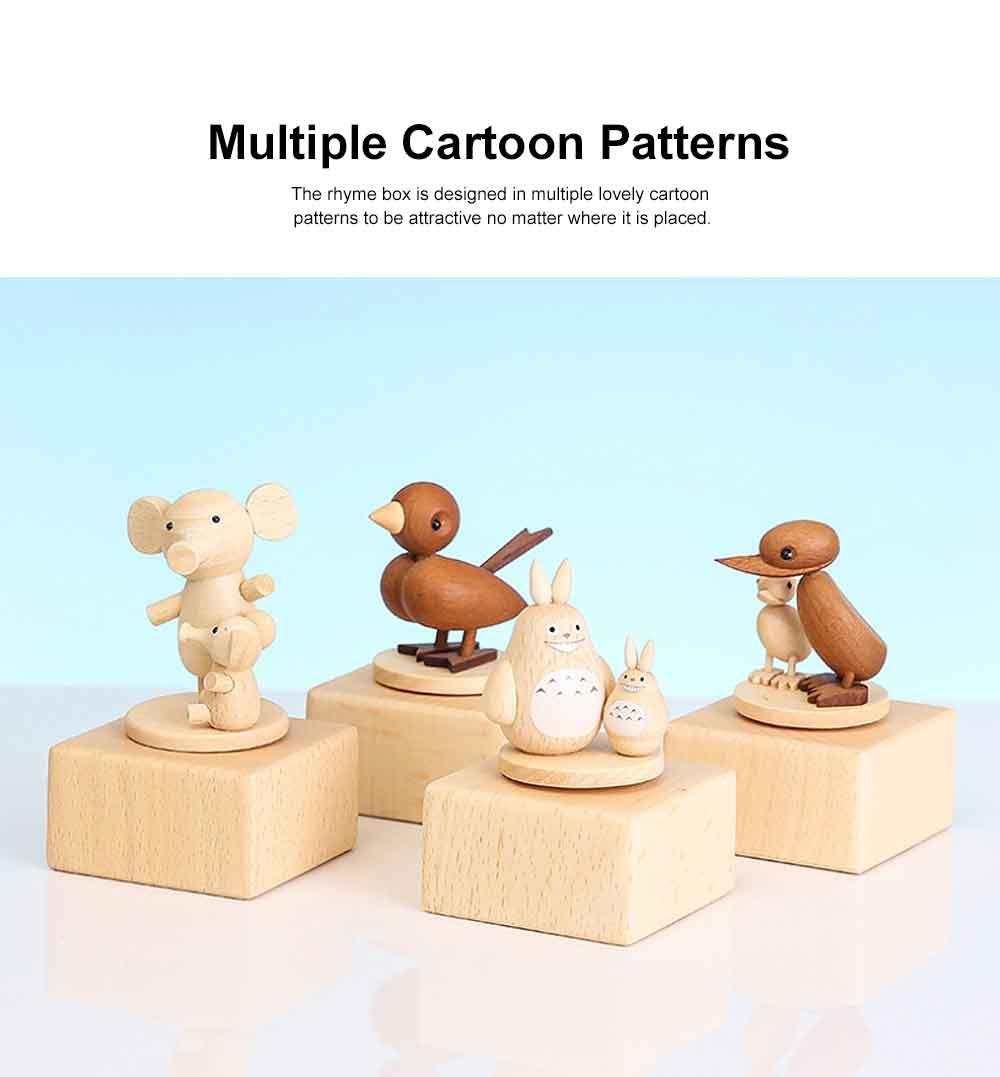 Wood Rhyme Box Mini Lovely Cartoon Design Manual Rotating Music Box Small Size Decorative Handiwork Gift for Children Family Lovers 2