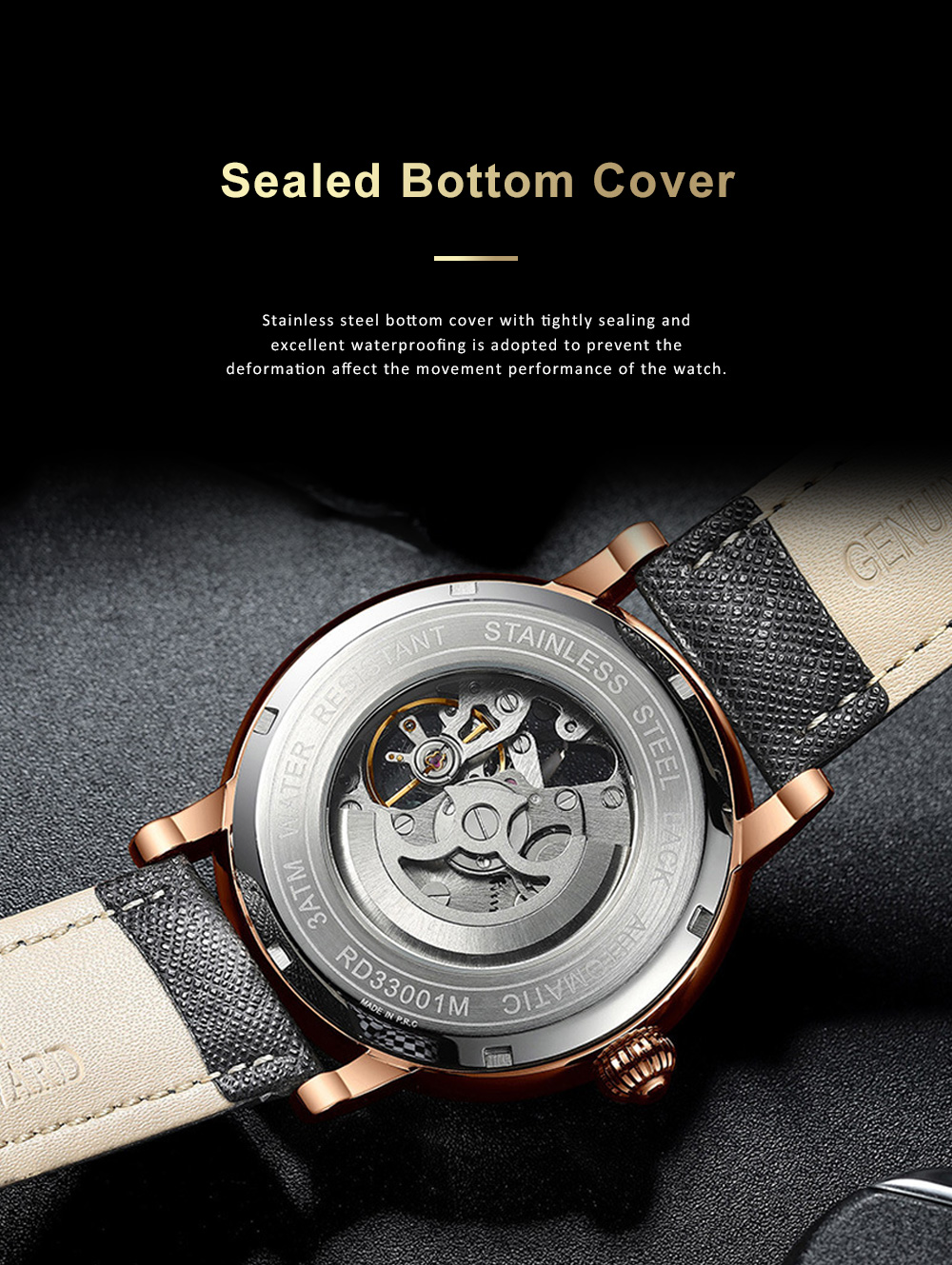 Businessman Mechanical Watch with Genuine Leather Watch Strap, Waterproof Hollow-out Bottom Cover Automatic Mechanic Men's Watch 6