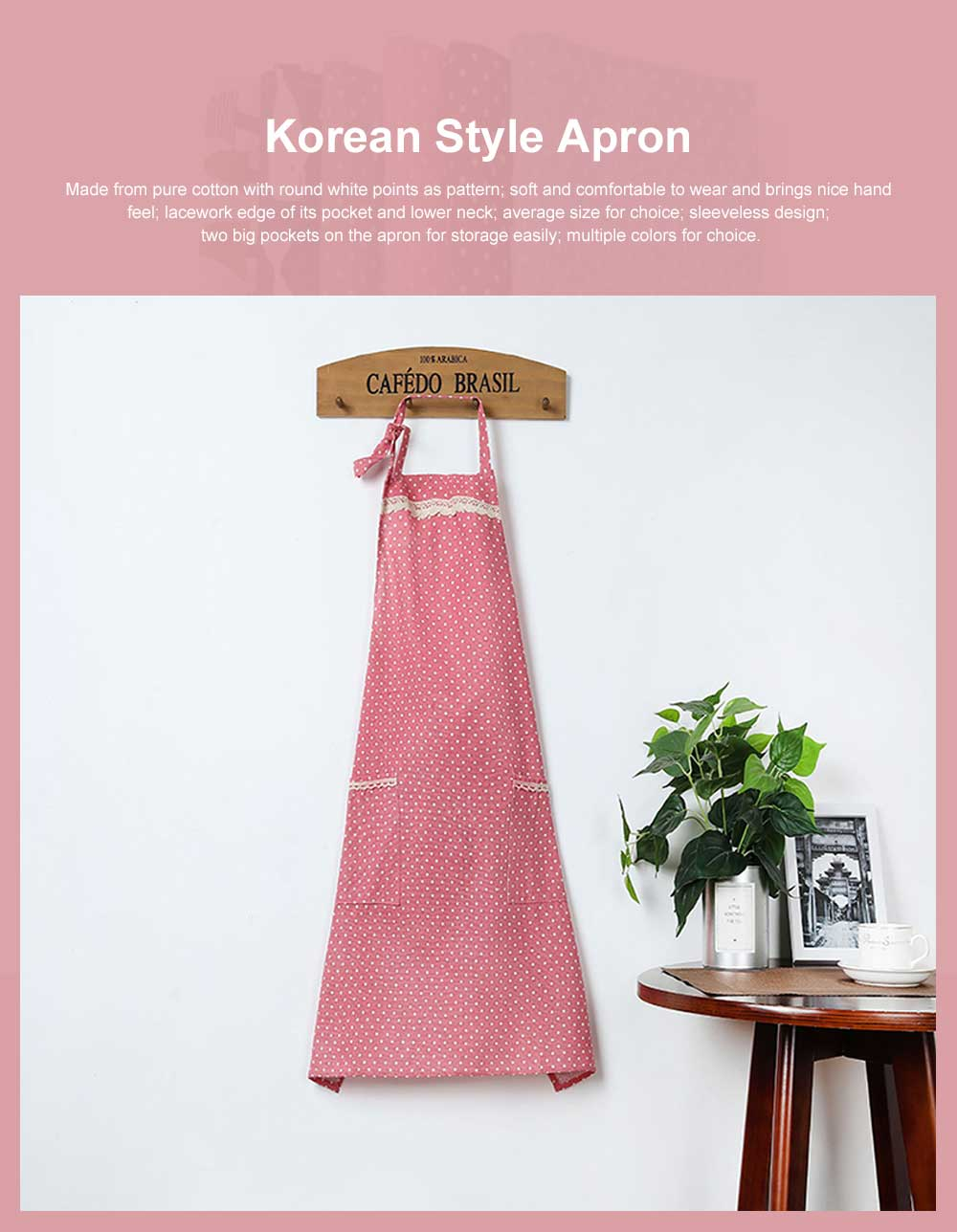 Lacework Edge Five Color Wave Point Apron Household Kitchen Used Pinafore Fashionable Kitchen Accessory 0
