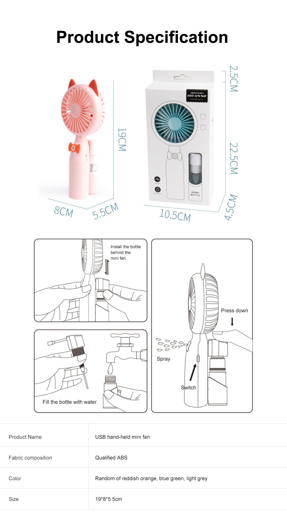 Mini USB Hand-held Fan Lovely Cartoon Cat Portable Spraying Humidifier Small Size Fan with Mesh Enclosure For Summer Use 6