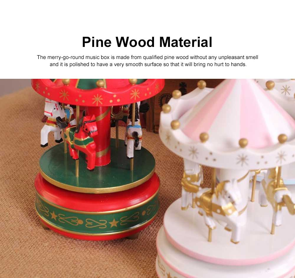 Wood-made Carousel Music Box Multiple Style Whirling Musical Box Gift or Decorative Ornaments for Household Use Craft 3