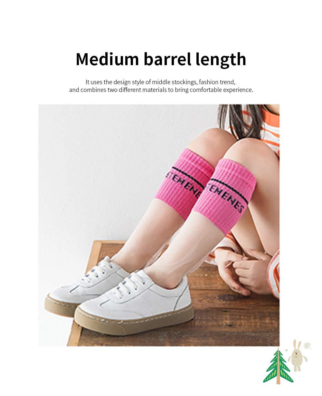 Children's Heelless Medium Length Socks Fashionable Thin Glass Silk Socks For Summer 3