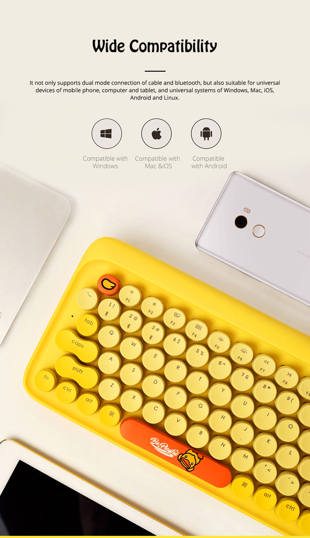 Lofree Dot Bluetooth Mechanical Keyboard with Retro Vintage Typewriter Style Keycaps Compatible with iOS, Android, Windows 4