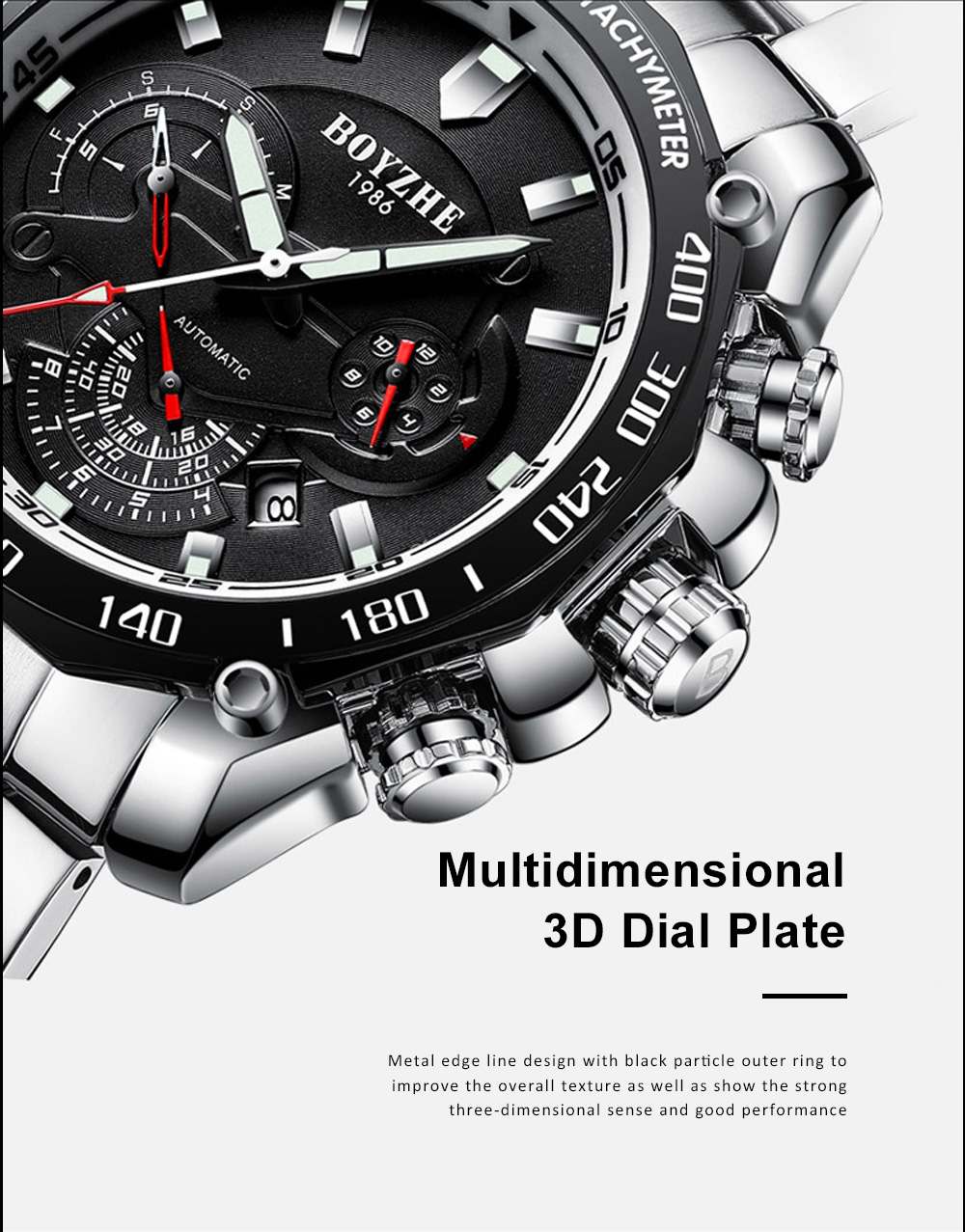 Automatic Mechanical Watch for Businessman, Stainless Steel Watchband Fashion Watch, Waterproof Sports Wrist Watch 3