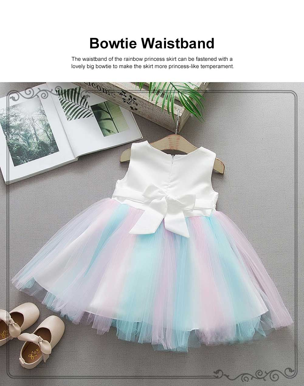 Rainbow Color Princess Skirt for Girl Kids, Summer Wear Korean Style Sleeveless One-piece Dress Princess Skirt for 1-3 Years 3