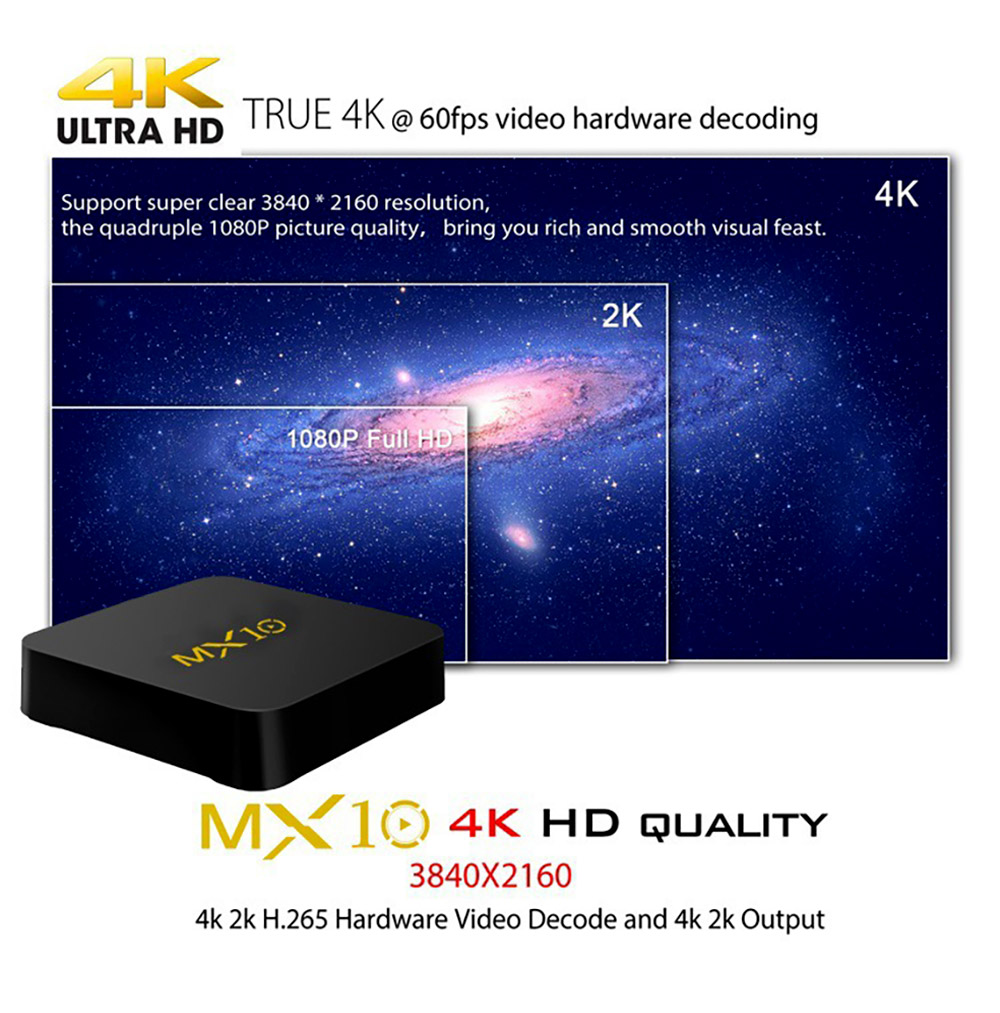 Tinkleo MX10 Kodi 17.1 Android TV Box 4G 32G RK3328 A53 3D 4K Wifi USB 3.0 With Remote 2