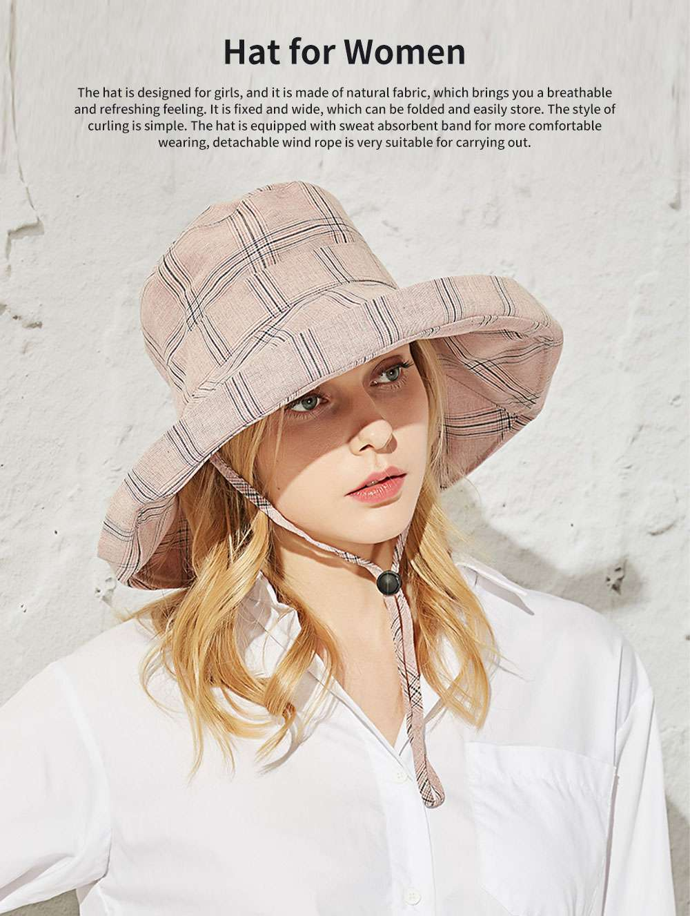 Lady Outdoor Sunhat Polyester Material Breathable Topee Detachable Stripe Hat for Women Beach Sun Block Outside Activities Cap 0