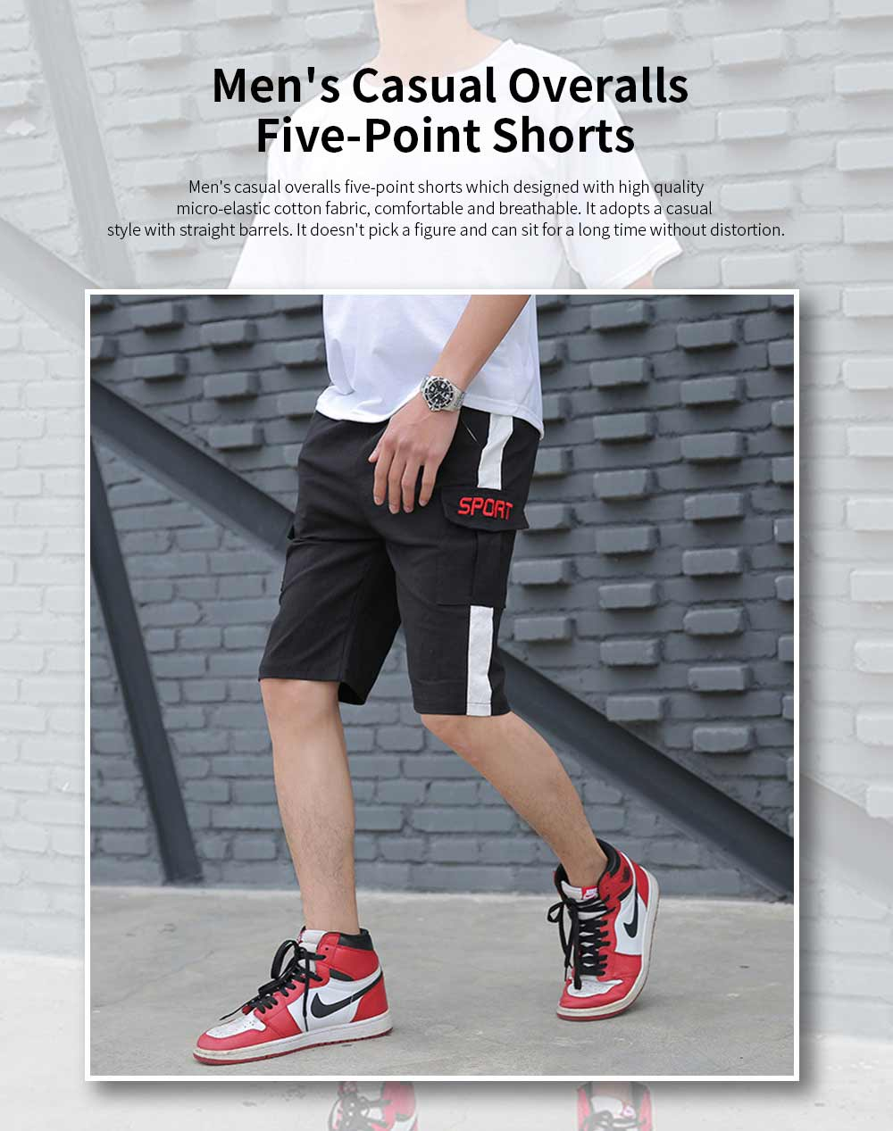 Men's Casual Overalls Shorts Students' Five-Point Shorts New Fashion Pocket Pants For Summer 0