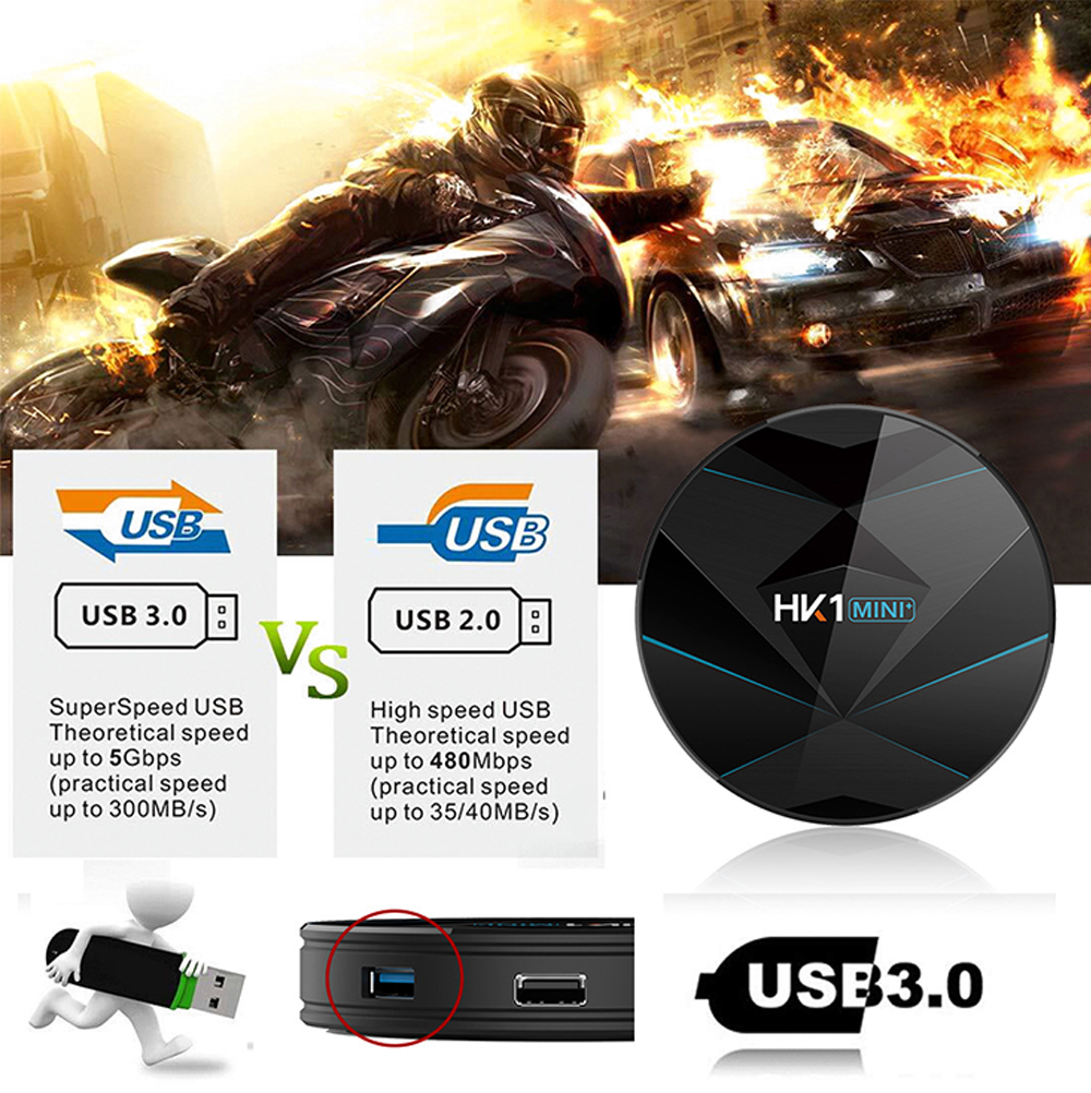 HK1 Mini + Android 9.0 TV Box 4G 128G Lastest RK3318 Quad Core 4K 2.4G 5G Wifi Bluetooth USB 3.0 Smart Set Top Box With Remote FCC CE Rohs 5