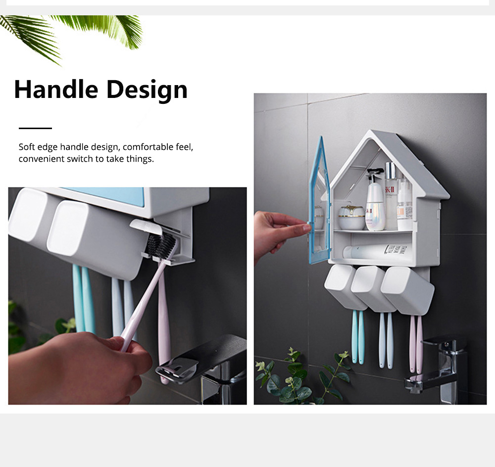 Creative Wall-mounted House-shaped Toothbrush Holder Multifunctional Three-Population Home Rinse Cup Set 5