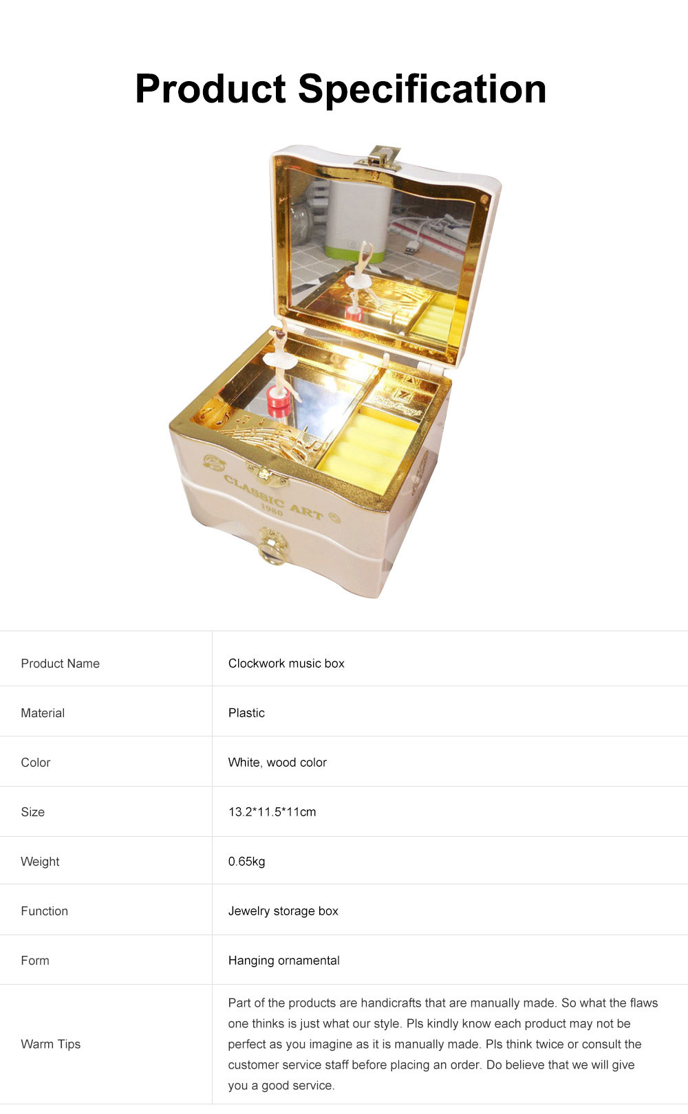 Classic Retro Style Dancing Girl Musical Box as Gift for Children or Girls, Clockwork Musical Box Creative Storage Box with Playing Music Jewelry 7