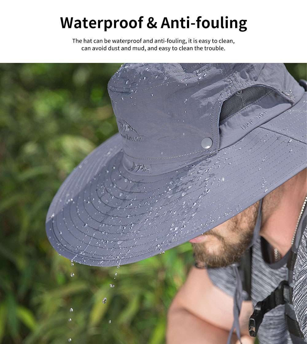 Outdoor Fishman's Hat Sunbonnet Polyester Material Enlarged Brim Sunhat Detachable Hat Top for Men Outside Activities Folding Topee Summer 2