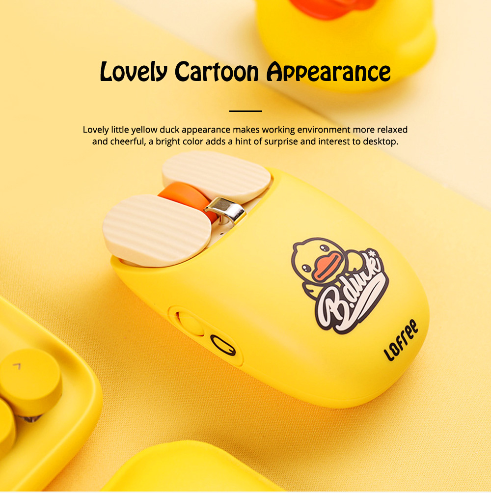 LOFREE Dual Mode Yellow Duck Bluetooth Mouse with 5-level Adjustable DPI Up to 3600, Yellow Duck Cartoon Wireless Mouse 8