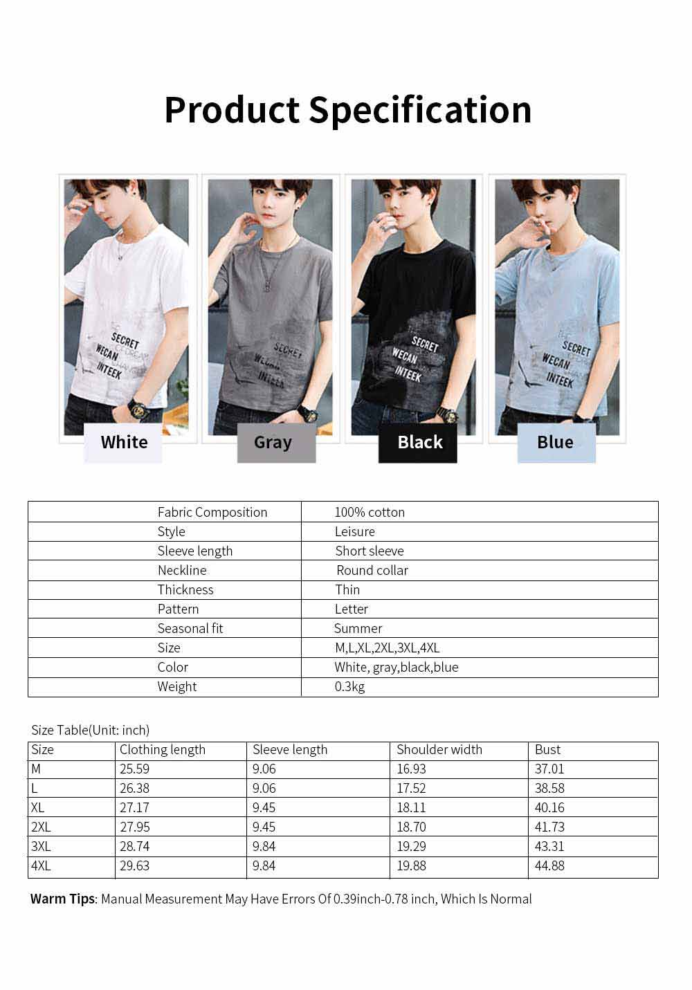 Men's T-Shirt With Round Collar &Short Sleeves New Fashionable Underclothes For Summer 6