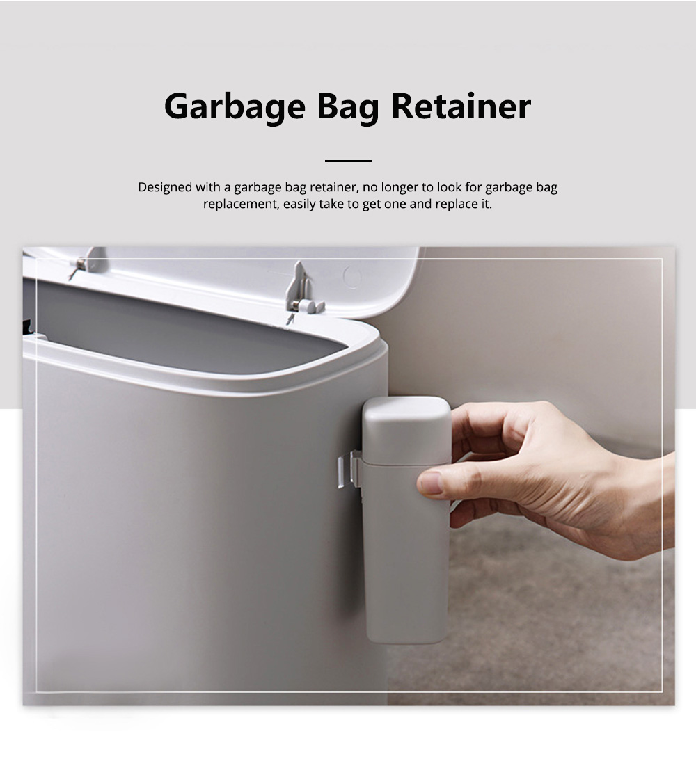 Plastic Trash Can with Lid and Garbage Bag Retainer, Space Saving Trash Bin for Kitchen Bathroom Living Room 4