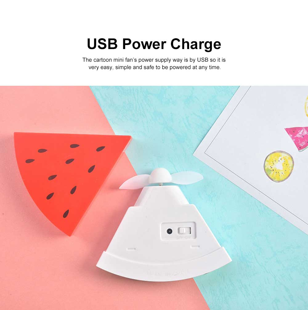 Tinkleo Watermelon USB Chargeable Mini Fan for Children's Gift, Creative Cartoon Portable Air Fan for Baby Present Mini USB Fan 2
