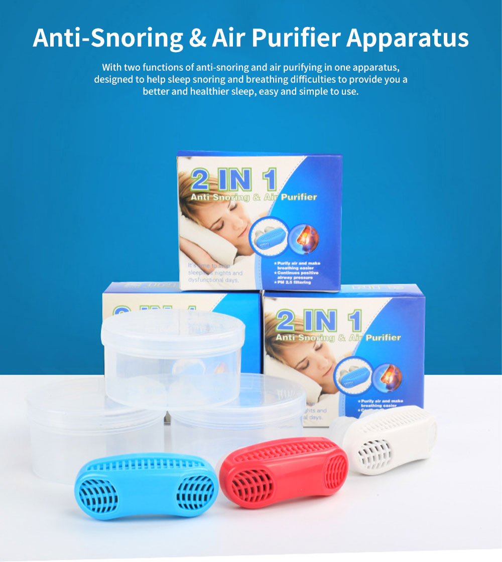 Anti-Snoring & Air Purifier Apparatus, 2 In 1 Sleep Breathe Difficulties Helper, Snore Stopper for Healthy Breath and Sleep 0