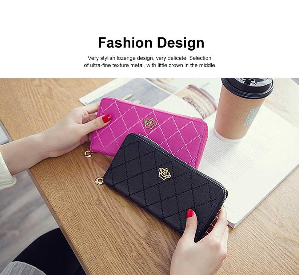 Women Purse Vintage lozenge Ladies PU Leather Wallets Women Fashion Accessories  Long Travel Purse Clutch 1