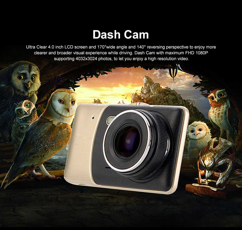 4.0'' Dash Cam Portable Dashboard FHD 1080P Car DVR Recorder with 4Inch LED Screen, Night Vision, G-Sensor, Loop Recording, Motion Detection 0