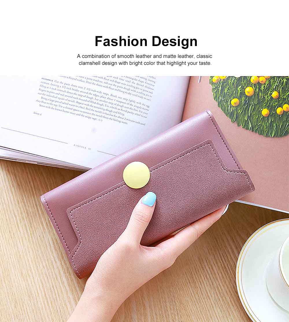 Lady Purse Retro Matte Ladies PU Leather Wallets Women Fashion Long Travel Clamshell Purse Clutch 1