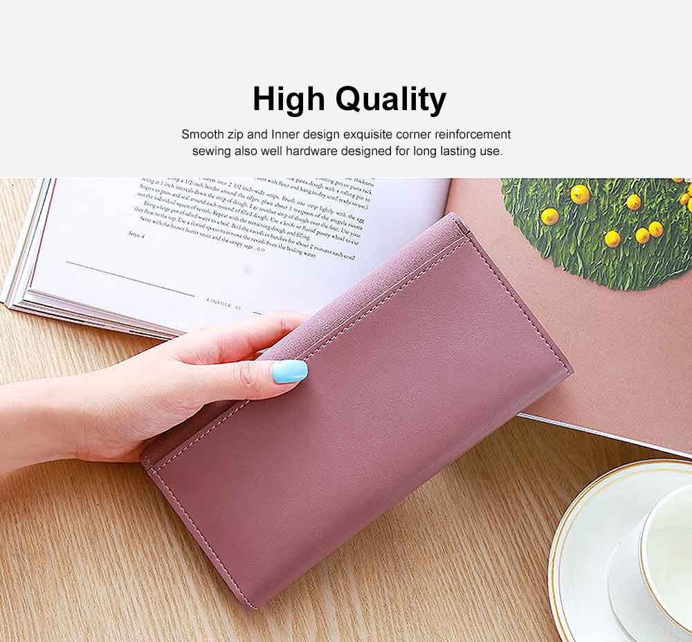 Lady Purse Retro Matte Ladies PU Leather Wallets Women Fashion Long Travel Clamshell Purse Clutch 2