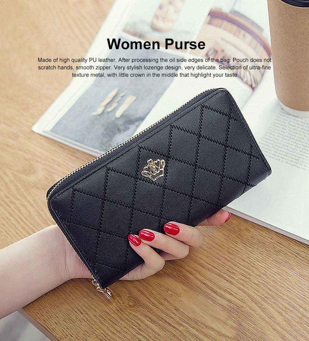 Women Purse Vintage lozenge Ladies PU Leather Wallets Women Fashion Accessories  Long Travel Purse Clutch 0