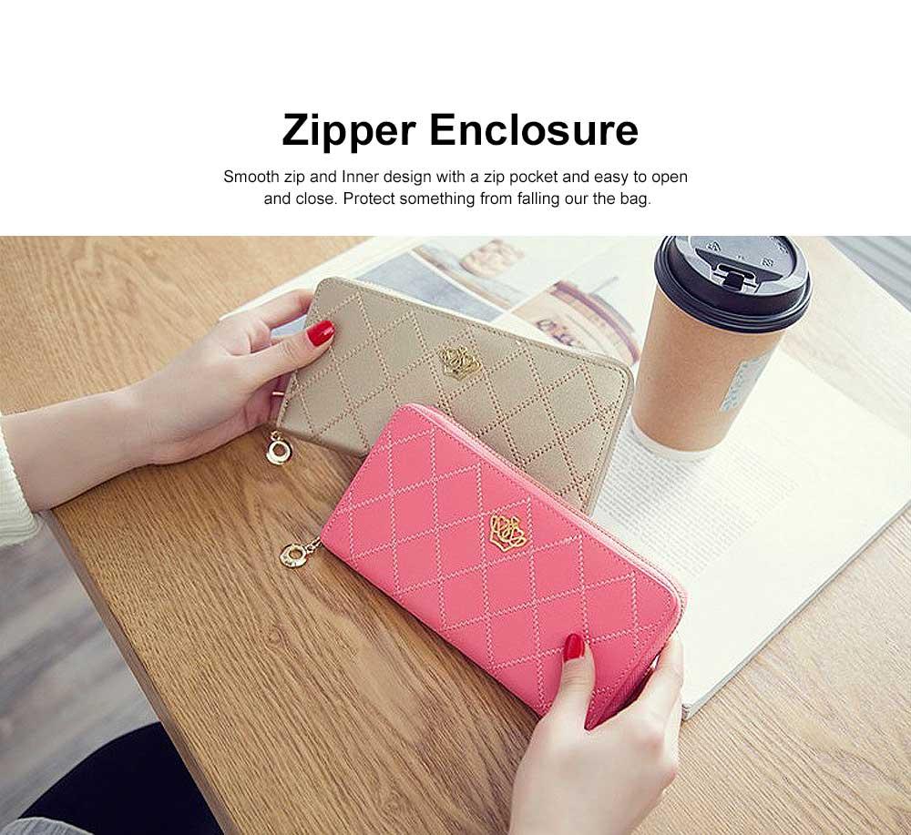Women Purse Vintage lozenge Ladies PU Leather Wallets Women Fashion Accessories  Long Travel Purse Clutch 5
