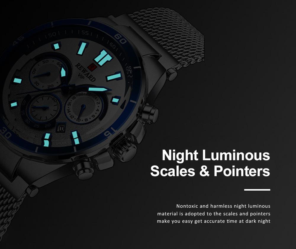 3 Dials Sports Quartz Watch with Adjustable Stainless Steel Watchband, Waterproof Fashion Accessories Wrist Watch for Men 4