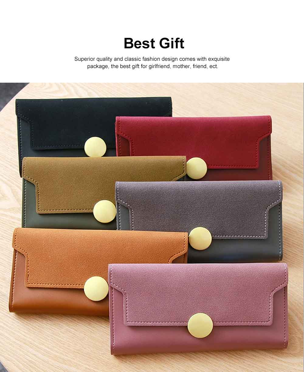 Lady Purse Retro Matte Ladies PU Leather Wallets Women Fashion Long Travel Clamshell Purse Clutch 5
