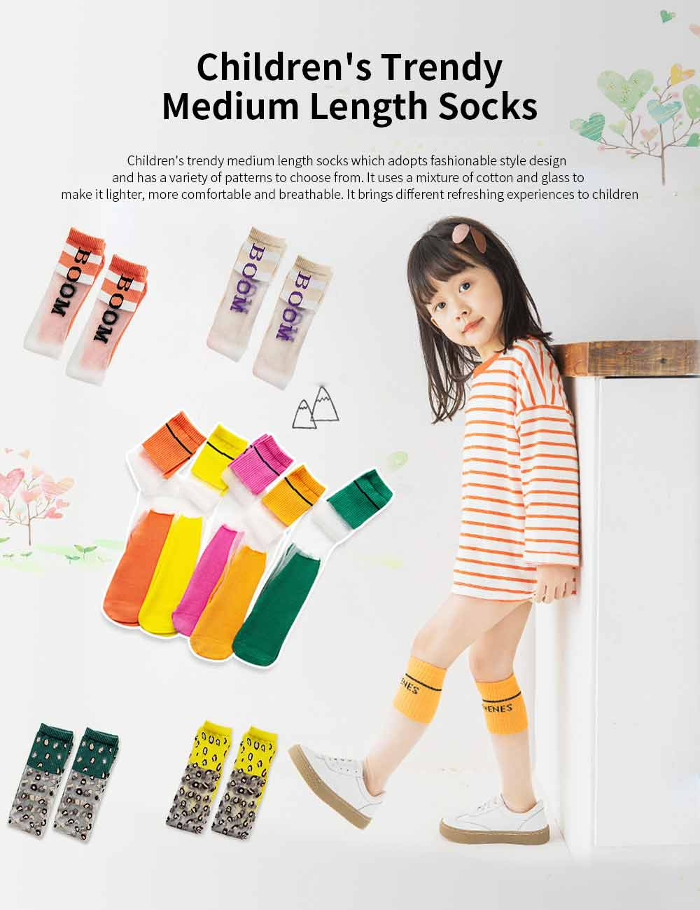 Children's Trendy Medium Length Socks Korean Style Thin Glass Silk Alphabet Printed Socks For Summer 0