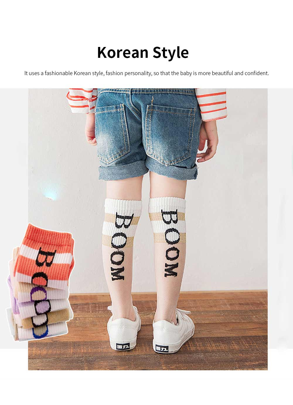 Children's Trendy Medium Length Socks Korean Style Thin Glass Silk Alphabet Printed Socks For Summer 5