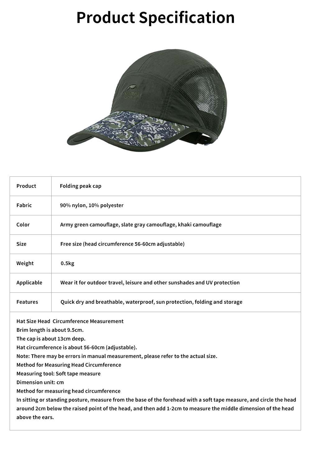 Summer Folding Peak Cap Unisex UV Protection Breathable Quick-dry Travel Sport Outdoor Baseball Hat 6