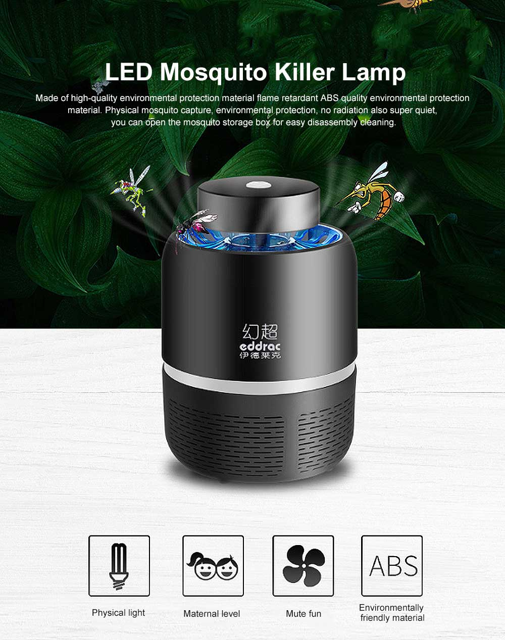 Intelligent Light Control USB Mosquito Lamp Safe Photocatalytic Mosquito Killer Lamp LED Light for Home Use 0
