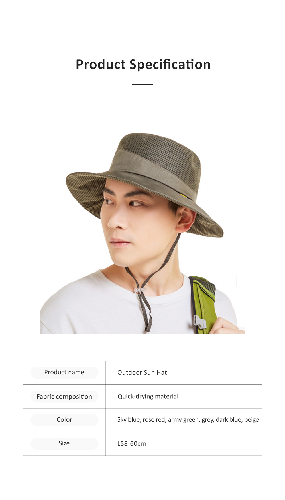 Outdoor Sunhat for Outdoor Enthusiast, Colorful Option Flat Brim Fisherman Hat, Wind Rope Buckle Quick Drying Flat Brim Cap 8