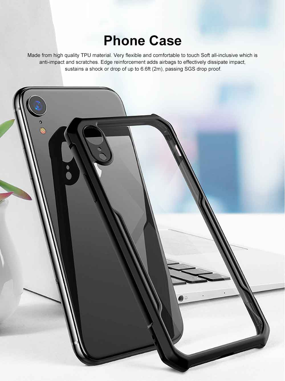 Phone Protective Case Soft Silicone TPU Transparent Cover Case Slim Thin Phone Protection Shell Clear Cover for iPhone 7 Plus, iPhone 6s, iPhone 8, iPhone X, iPhone XS, XS MAX, XR 0