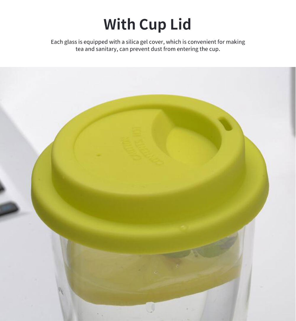Transparent Glass Thermos Cup Multicolored Heat-resistant Double Walled Insulated Mug Glass Cup with Cover Best Gift 4