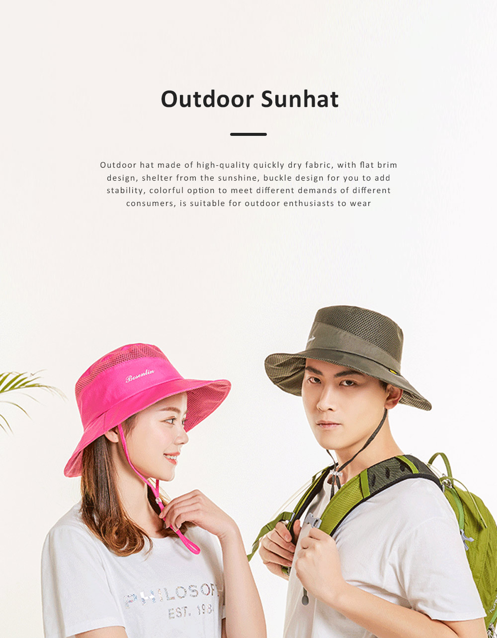 Outdoor Sunhat for Outdoor Enthusiast, Colorful Option Flat Brim Fisherman Hat, Wind Rope Buckle Quick Drying Flat Brim Cap 0