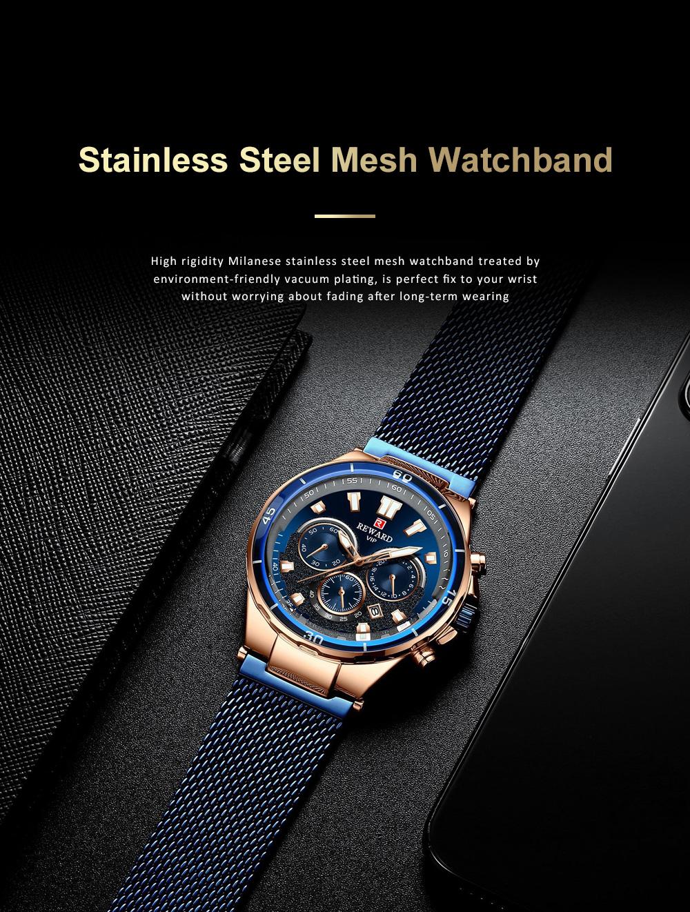 3 Dials Sports Quartz Watch with Adjustable Stainless Steel Watchband, Waterproof Fashion Accessories Wrist Watch for Men 6