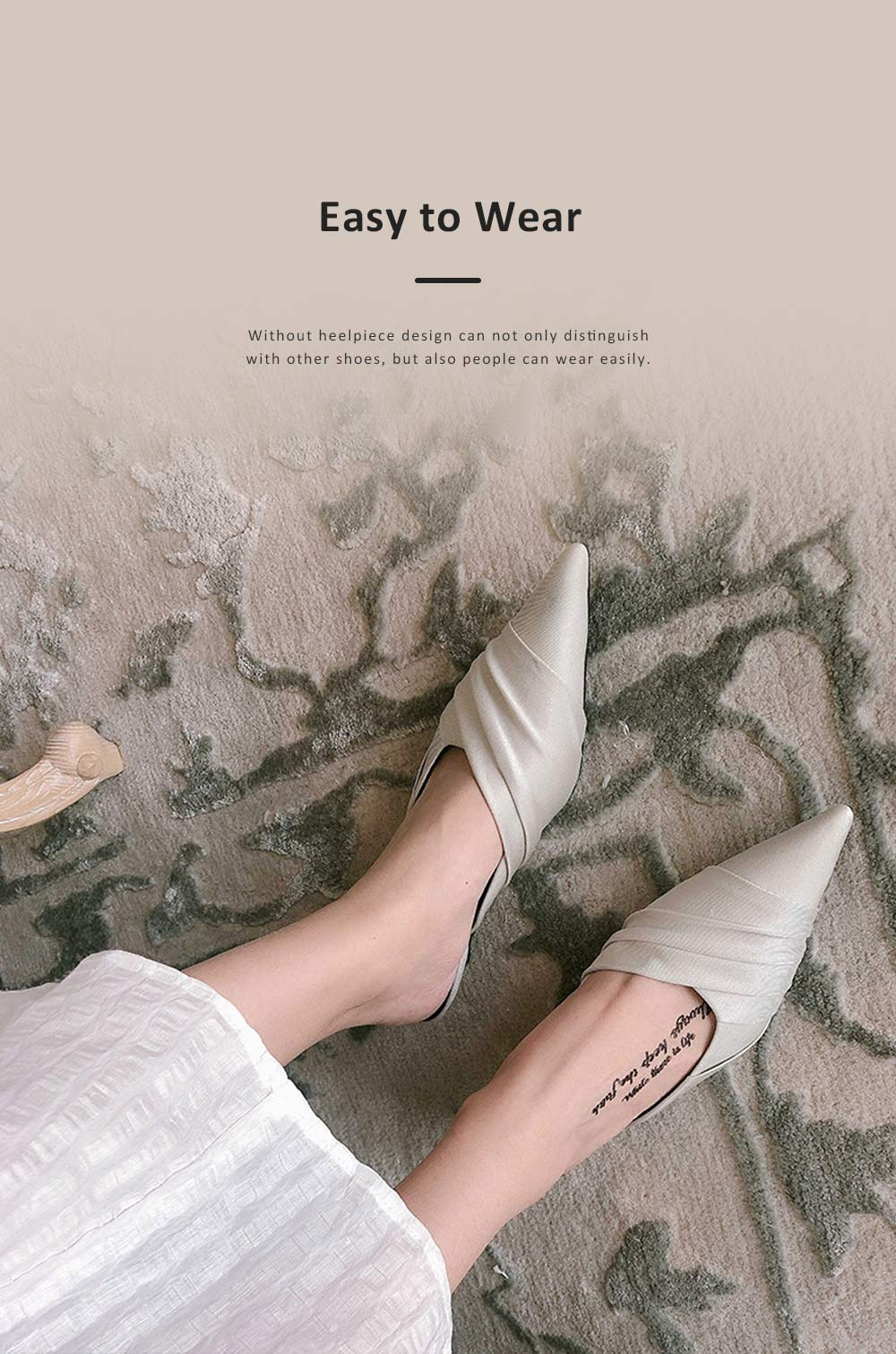 Pointy Shoes for Women, Low-heeled Waterproof Platform Sandals, Leather Material without Heelpiece Slippers 4