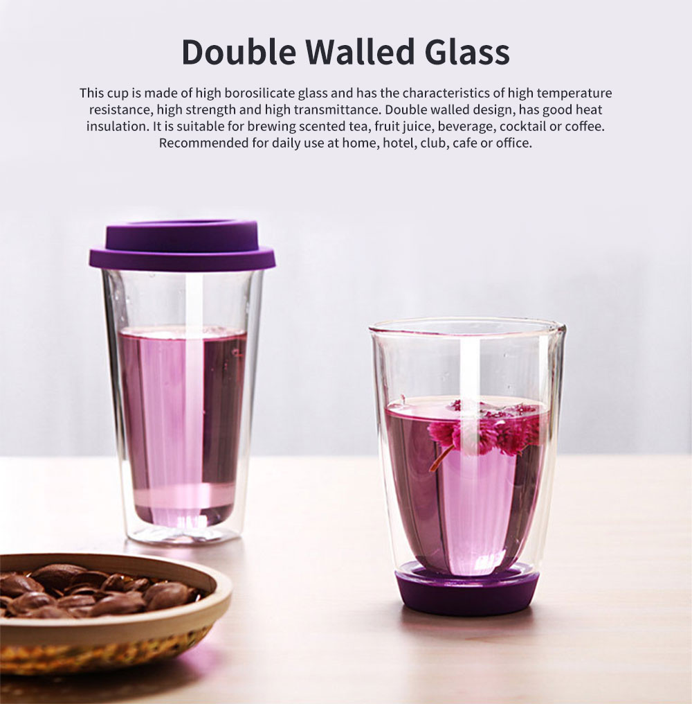 Transparent Glass Thermos Cup Multicolored Heat-resistant Double Walled Insulated Mug Glass Cup with Cover Best Gift 0