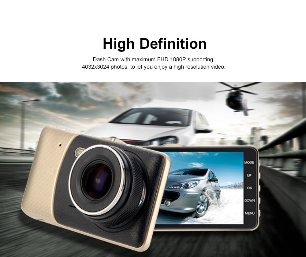 4.0'' Dash Cam Portable Dashboard FHD 1080P Car DVR Recorder with 4Inch LED Screen, Night Vision, G-Sensor, Loop Recording, Motion Detection 1