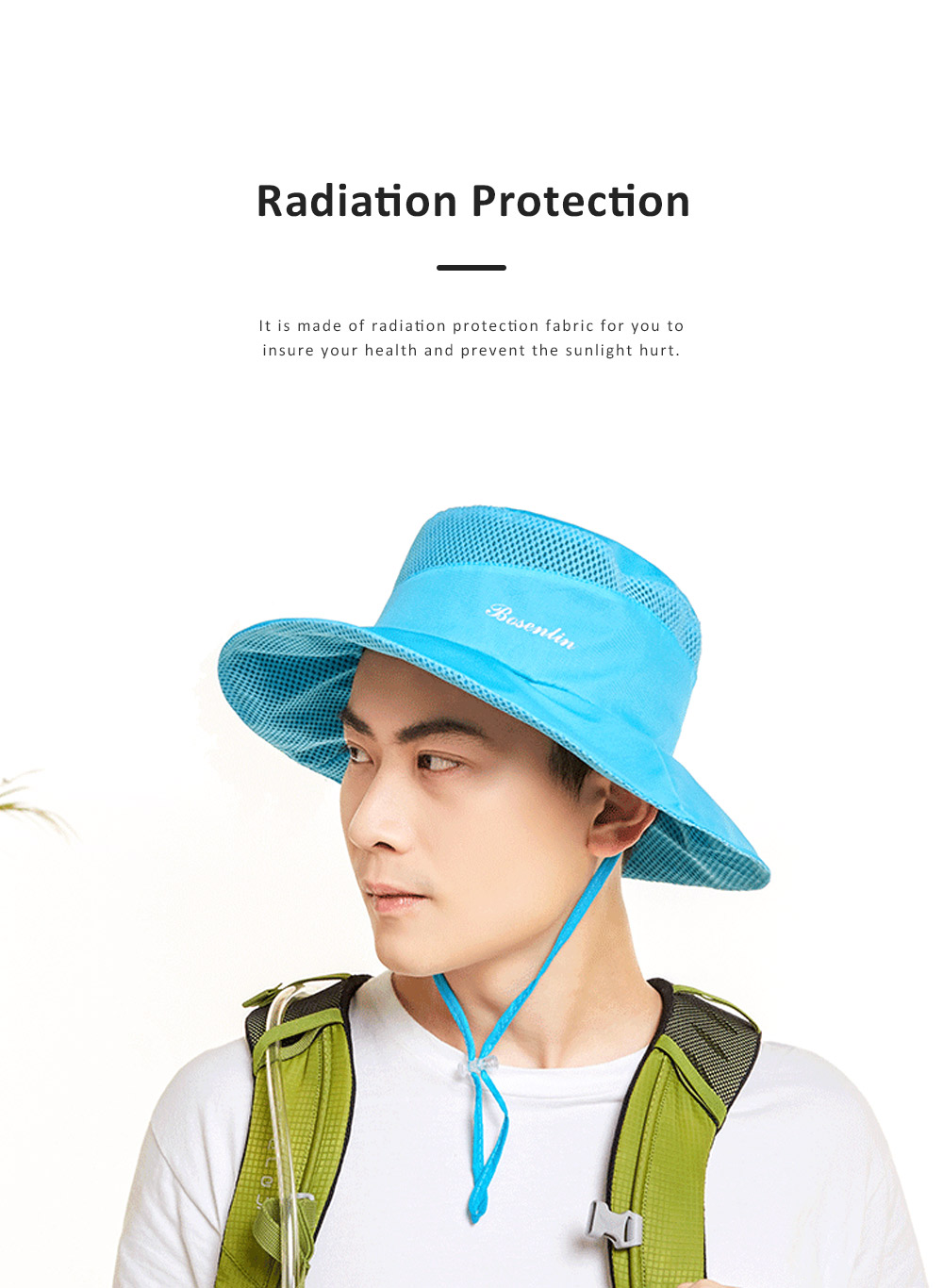 Outdoor Sunhat for Outdoor Enthusiast, Colorful Option Flat Brim Fisherman Hat, Wind Rope Buckle Quick Drying Flat Brim Cap 7