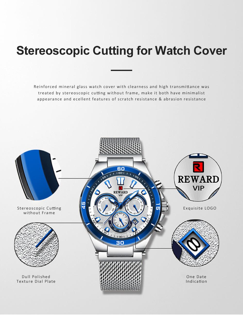 3 Dials Sports Quartz Watch with Adjustable Stainless Steel Watchband, Waterproof Fashion Accessories Wrist Watch for Men 1