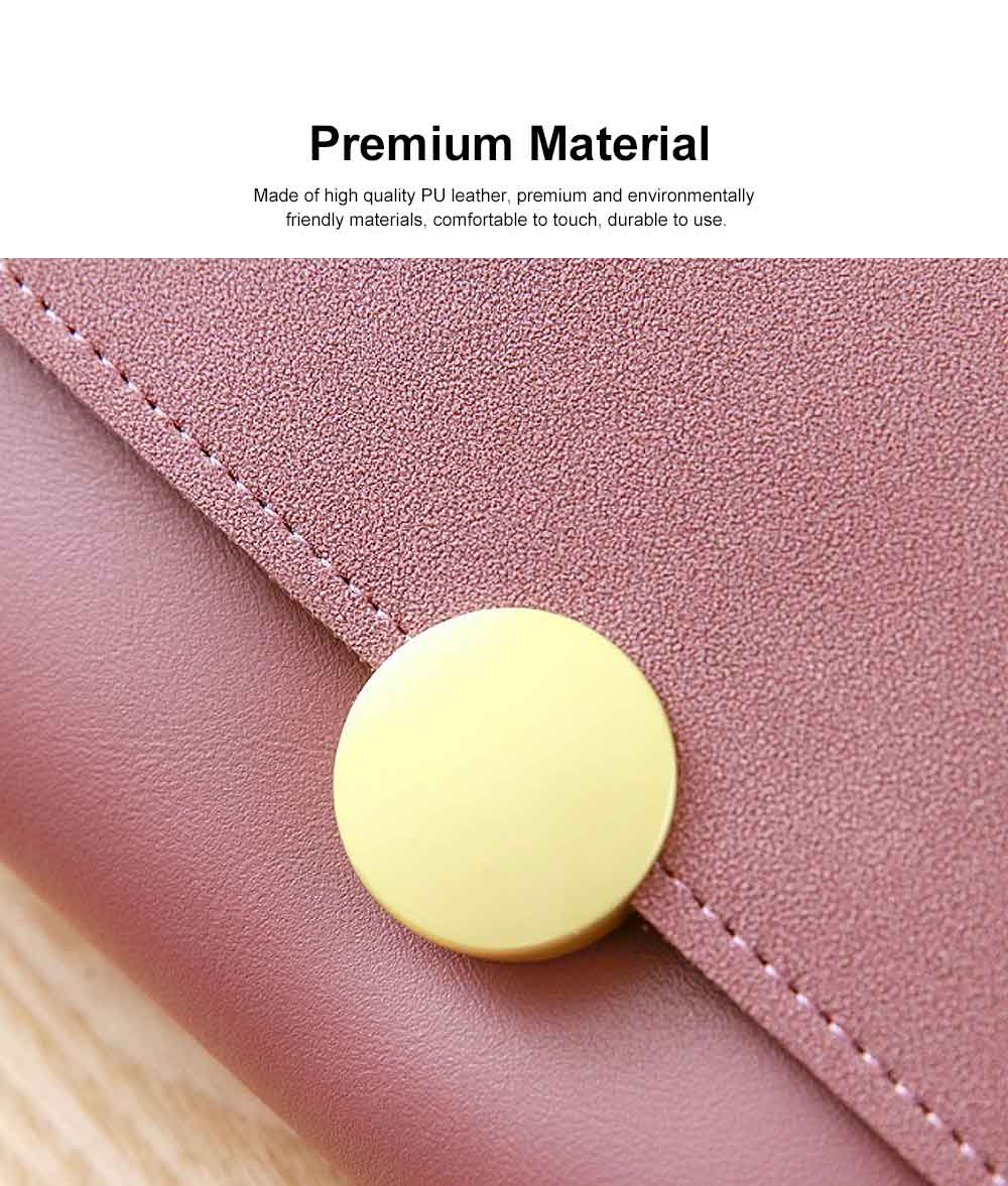 Lady Purse Retro Matte Ladies PU Leather Wallets Women Fashion Long Travel Clamshell Purse Clutch 3