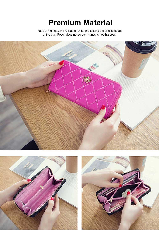 Women Purse Vintage lozenge Ladies PU Leather Wallets Women Fashion Accessories  Long Travel Purse Clutch 3